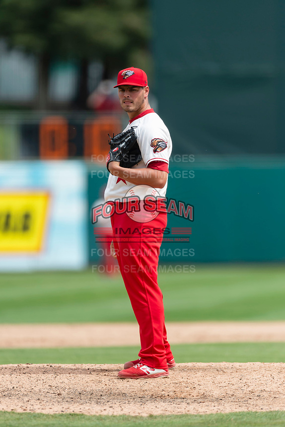 Fresno Grizzlies relief pitcher Tanner Rainey (14) pitching during a game against the Reno Aces at Chukchansi Park on April 8, 2019 in Fresno, California. Fresno defeated Reno 7-6. (Zachary Lucy/Four Seam Images)