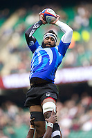 Api Naikatini of the Flying Fijians secures the lineout ball during the QBE International between England and Fiji at Twickenham on Saturday 10th November 2012 (Photo by Rob Munro)