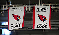 Sept. 13, 2009; Glendale, AZ, USA; View of the Arizona Cardinals banner being unveiled recognizing their 2008 NFC Champion season before their game against the San Francisco 49ers at University of Phoenix Stadium. San Francisco defeated Arizona 20-16. Mandatory Credit: Mark J. Rebilas-