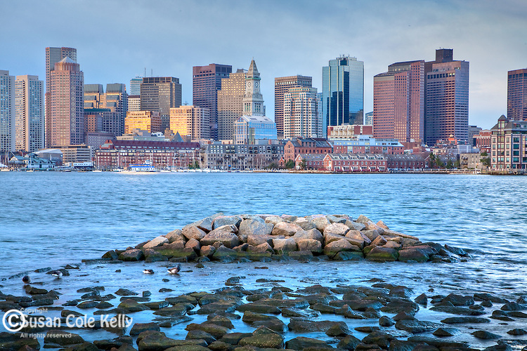 Sunrise on Boston Harbor, Boston, MA, USA