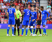 Referee Craig Pawson gives a final warning to both sets of players   during AFC Bournemouth vs Leicester City, Premier League Football at the Vitality Stadium on 15th September 2018