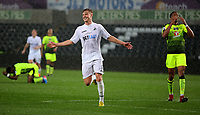 Pictured: Adam King of Swansea City celebrates his second goal Monday 15 May 2017<br />