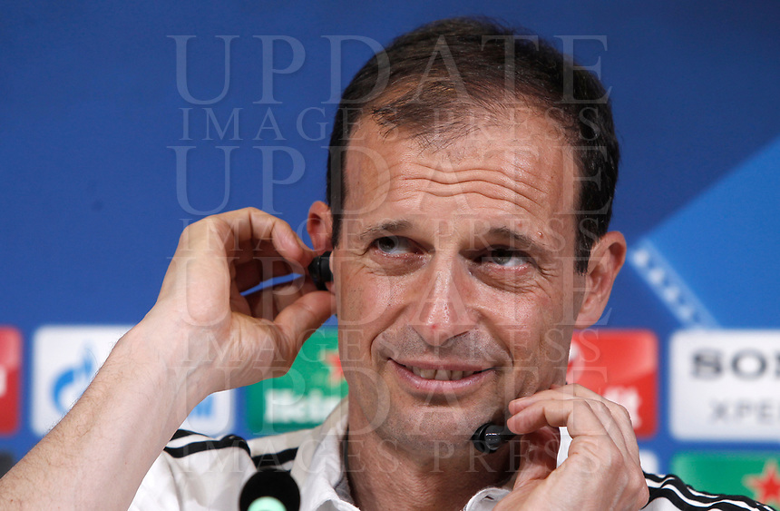 Football Soccer - Juventus Press conference- Uefa Champions League, Juventus stadium, Turin, Italy, april 10, 2017.<br /> Juventus' coach Massimiliano Allegri looks on during a news conference before the match against Barcelona.