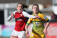 Heather O'Reilly of Arsenal and Chloe Lloyd of Yeovil during Arsenal Women vs Yeovil Town Ladies, FA Women's Super League FA WSL1 Football at Meadow Park on 11th February 2018