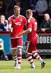 Aberdeen v St Johnstone...28.06.15  Glebe Park, Brechin..Pre-Season Friendly<br /> Adam Rooney celebrates his goal with David Goodwillie<br /> Picture by Graeme Hart.<br /> Copyright Perthshire Picture Agency<br /> Tel: 01738 623350  Mobile: 07990 594431