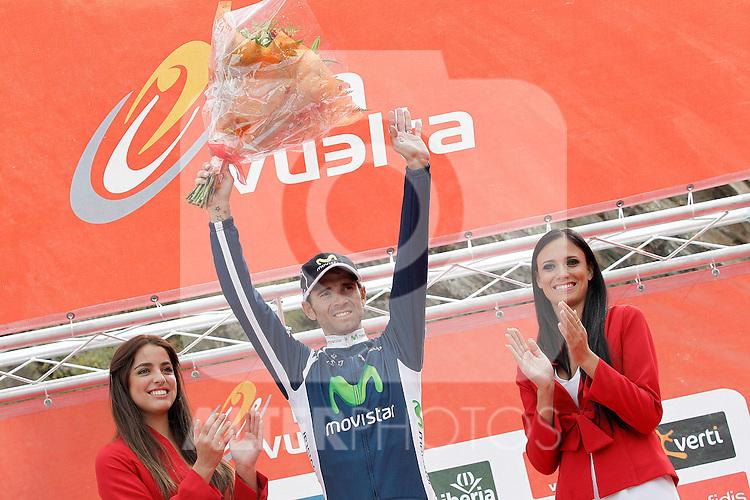 Alejandro Valverde celebrates the victory in the stage of La Vuelta 2012 between Lleida-Lerida and Collado de la Gallina (Andorra).August 25,2012. (ALTERPHOTOS/Acero)