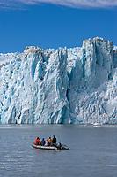 Tourist view tidewater glacier Chenega, Prince William Sound.