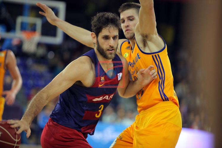 League ACB-ENDESA 2016/2017. Game: 11.<br /> FC Barcelona Lassa vs Herbalife Gran Canaria: 79-78.<br /> Stratos Perperoglu vs Xavi Rabaseda.