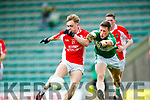 Cian Ó Murchu West Kerry in action against Jonathan Lyne  Legion in the Quarter Final of the Kerry Senior County Championship at Austin Stack Park on Sunday.