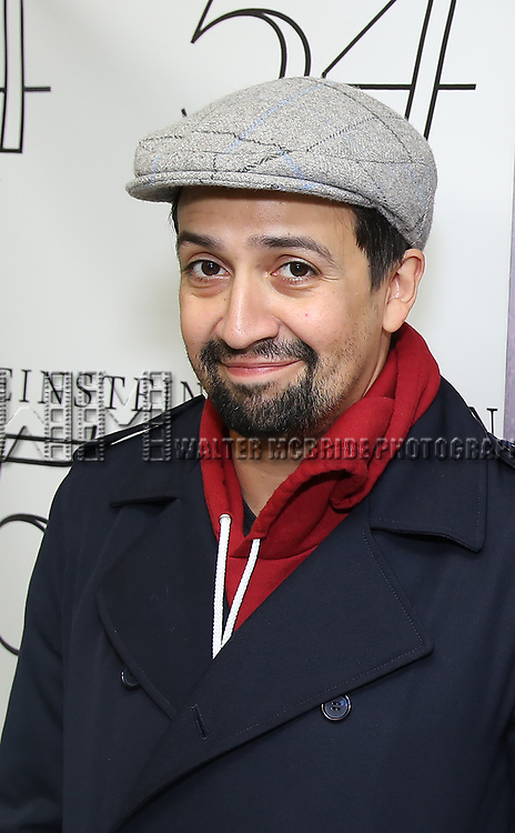"""Lin-Manuel Miranda backstage after a Song preview performance of the Bebe Winans Broadway Bound Musical """"Born For This"""" at Feinstein's 54 Below on November 5, 2018 in New York City."""