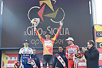 Brandon McNulty (USA) Rally UHC Cycling wins overall with Guillaume Martin (FRA) Wanty-Gobert Cycling Team 2nd and Fausto Masnada (ITA) Androni Giocattoli-Sidermec in 3rd place on the podium at the end of Stage 4 of Il Giro di Sicilia 2019 running 119km from Giardini Naxos to Mount Etna (Nicolosi), Italy. 6th April 2019.<br /> Picture: LaPresse/Fabio Ferrari | Cyclefile<br /> <br /> All photos usage must carry mandatory copyright credit (&copy; Cyclefile | LaPresse/Fabio Ferrari)