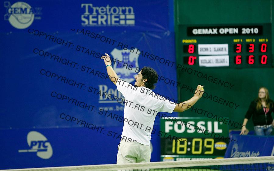 Tennis.Gemax Open 2010, doubles final match.Ilija Bozoljac & Jamie Delgado (GBR) Vs. Dustin Brown (JAM) & Martin Slanar (AUT).Ilija Bozoljac.Belgrade, 20.02.2010..foto: Srdjan Stevanovic©