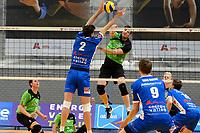 GRONINGEN - Volleybal, Abiant Lycurgus - SSS, Alfa College , Eredivisie , seizoen 2017-2018, 02-12-2017 blok van Lycurgus speler Wytze Kooistra