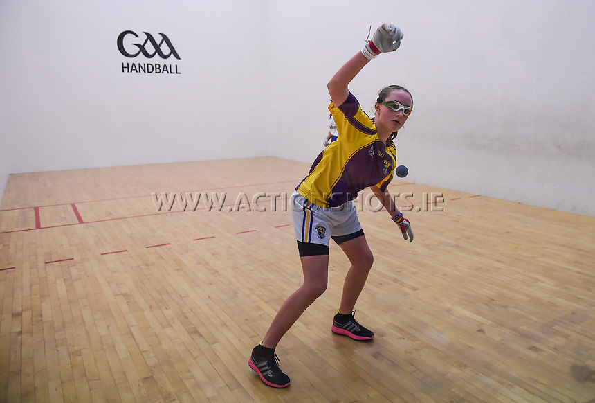 19/03/2018; 40x20 All Ireland Juvenile Championships Finals 2018; Kingscourt, Co Cavan;<br /> Girls Under-15 Singles; Wexford (April Moran) v Monaghan (Louise McGinnity)<br /> April Moran.<br /> Photo Credit: actionshots.ie/Tommy Grealy
