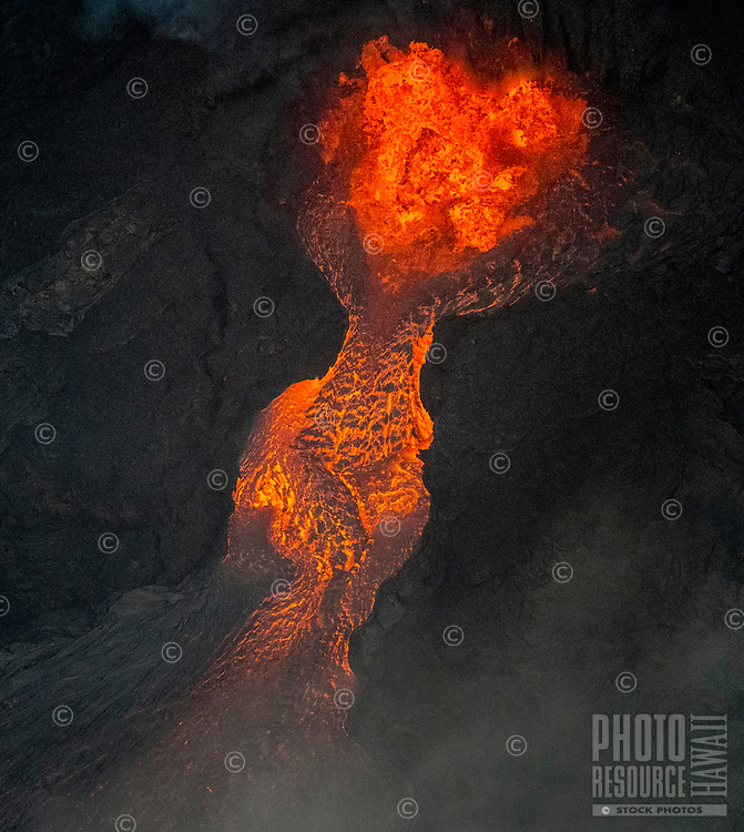 June 2018: This image was taken 3,000 feet over, and looking straight into, a lava fountain in Leilani Estates, forming a river that flows through the rest of the Puna district of Hawai'i Island.
