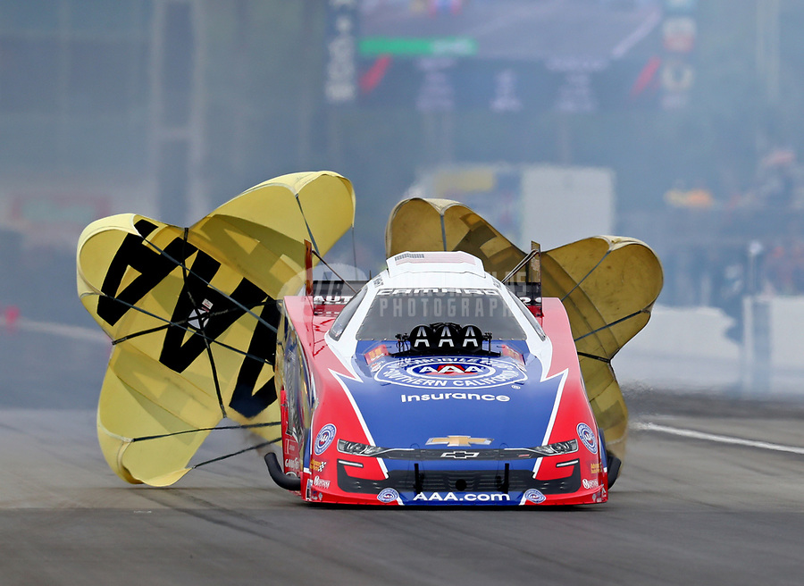 Mar 17, 2019; Gainesville, FL, USA; NHRA funny car driver Robert Hight during the Gatornationals at Gainesville Raceway. Mandatory Credit: Mark J. Rebilas-USA TODAY Sports