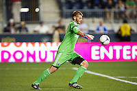 Columbus Crew goalkeeper Matt Lampson (28). The Columbus Crew defeated the Philadelphia Union 2-1 during a Major League Soccer (MLS) match at PPL Park in Chester, PA, on August 29, 2012.