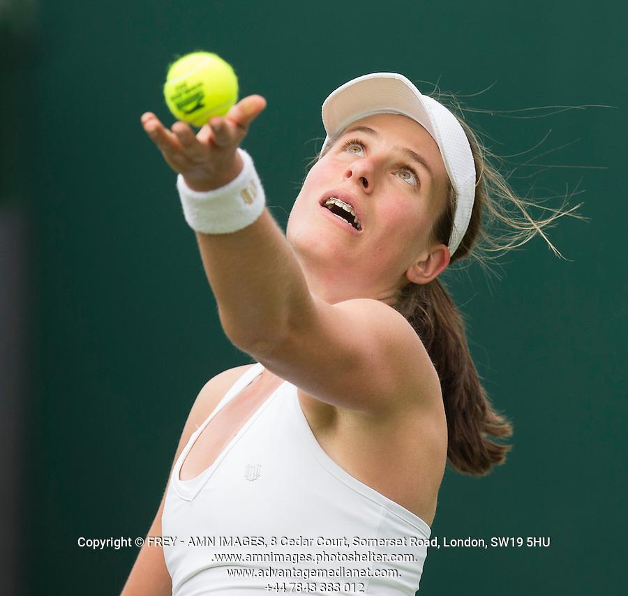 Johanna Konta<br /> <br /> Tennis - The Championships Wimbledon  - Grand Slam -  All England Lawn Tennis Club  2013 -  Wimbledon - London - United Kingdom - Monday 24th June  2013. <br /> &copy; AMN Images, 8 Cedar Court, Somerset Road, London, SW19 5HU<br /> Tel - +44 7843383012<br /> mfrey@advantagemedianet.com<br /> www.amnimages.photoshelter.com<br /> www.advantagemedianet.com<br /> www.tennishead.net