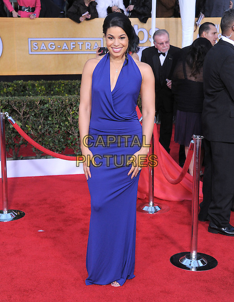 Jordin Sparks.Arrivals at the 19th Annual Screen Actors Guild Awards at the Shrine Auditorium in Los Angeles, California, USA..27th January 2013.SAG SAGs full length dress blue purple halterneck  .CAP/DVS.©DVS/Capital Pictures.