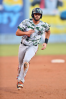 Augusta GreenJackets first baseman Jose Vizcaino (26) runs to third base during a game against the Asheville Tourists at McCormick Field on July 16, 2017 in Asheville, North Carolina. The Tourists defeated the GreenJackets 12-3. (Tony Farlow/Four Seam Images)