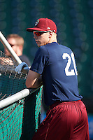 Frisco RoughRiders center fielder Ryan Cordell (20) during batting practice before a game against the Corpus Christi Hooks on April 23, 2016 at Whataburger Field in Corpus Christi, Texas.  Corpus Christi defeated Frisco 3-2.  (Mike Janes/Four Seam Images)