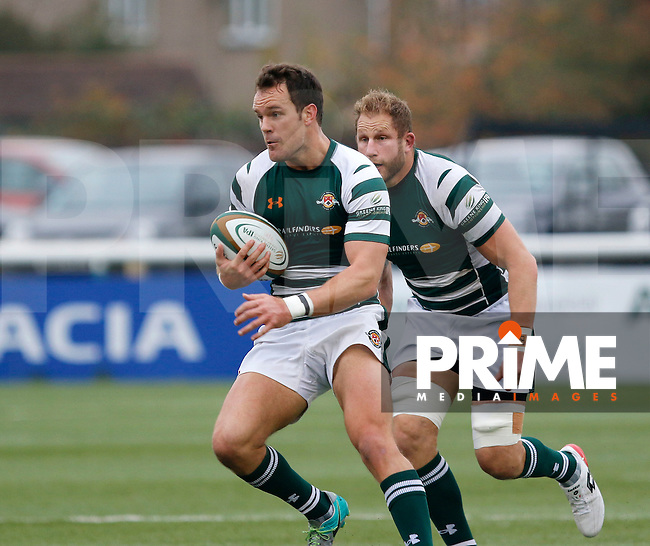 Ealing's Joe Munro with the ball during the Greene King IPA Championship match between Ealing Trailfinders and Bedford Blues at Castle Bar , West Ealing , England  on 29 October 2016. Photo by Carlton Myrie / PRiME Media