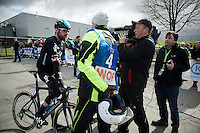 Sir Bradley Wiggins (GBR/Sky) interviewed at the start by Sporza reporter Renaat Schotte<br /> <br /> 3 Days of De Panne 2015