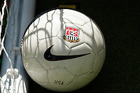 A US Soccer centenial soccer ball during the centennial celebration of U. S. Soccer at Times Square in New York, NY, on April 04, 2013.
