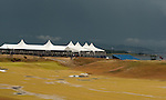 The dark skies continue to deliver rain, thunder and lightning and further delays during the completion of the second round  of the Barclays Scottish Open, played over the links at Castle Stuart, Inverness, Scotland from 7th to 10th July 2011:  Picture Stuart Adams /www.golffile.ie 9th July 2011