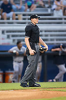 Home plate umpire Mike Snover during the Appalachian League game between the Pulaski Yankees and the Danville Braves at American Legion Post 325 Field on August 2, 2016 in Danville, Virginia.  The game was cancelled due to rain.  (Brian Westerholt/Four Seam Images)