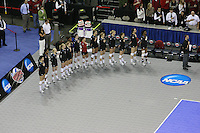 Omaha, NE - DECEMBER 20:  Outside hitter Cynthia Barboza #1, middle blocker Janet Okogbaa #2, setter Joanna Evans #3, outside hitter Alex Fisher #5, defensive specialist Katherine Knox #6, middle blocker Jessica Walker #7, outside hitter/setter Cassidy Lichtman #8, libero Gabi Ailes #9, outside hitter Alix Klineman #10, defensive specialist Jessica Fishburn #11, outside hitter Erin Waller #12, defensive specialist Katherine Sebastian #14, middle blocker Stephanie Browne #15, middle blocker Foluke Akinradewo #16, and assistant coach Jason Mansfield of the Stanford Cardinal during Stanford's 20-25, 24-26, 23-25 loss against the Penn State Nittany Lions in the 2008 NCAA Division I Women's Volleyball Final Four Championship match on December 20, 2008 at the Qwest Center in Omaha, Nebraska.