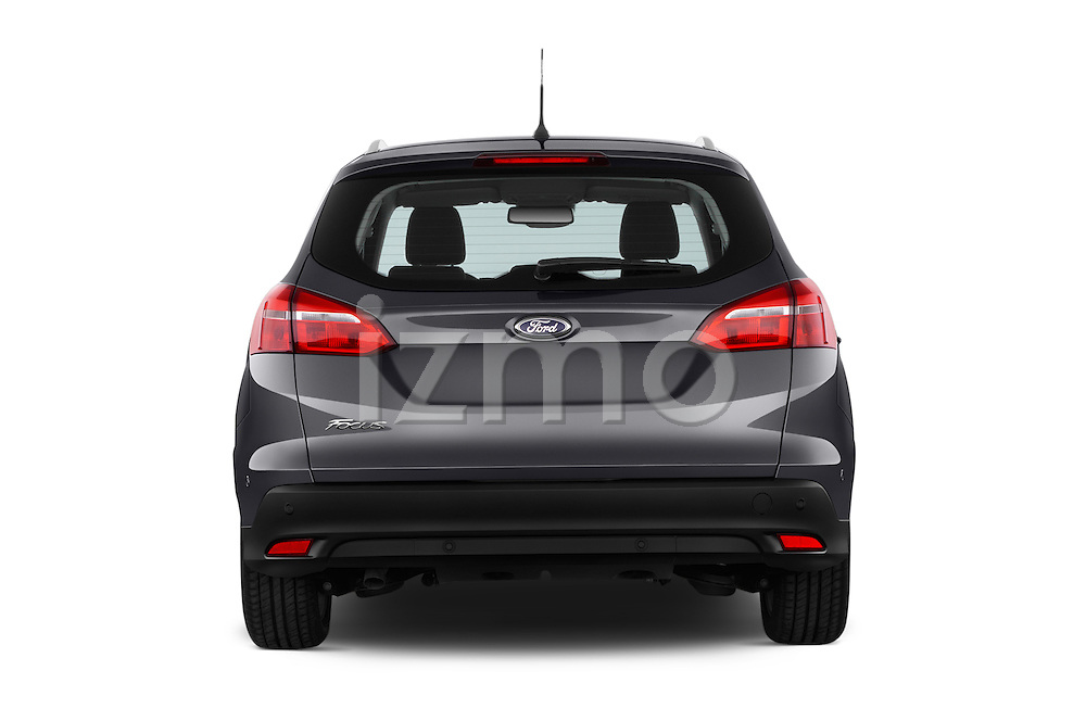 Straight rear view of a 2015 Ford Focus Titanium 5 Door Wagon Rear View  stock images