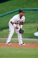 Frederick Keys first baseman Wilson Garcia (50) during the second game of a doubleheader against the Lynchburg Hillcats on June 12, 2018 at Nymeo Field at Harry Grove Stadium in Frederick, Maryland.  Frederick defeated Lynchburg 8-1.  (Mike Janes/Four Seam Images)