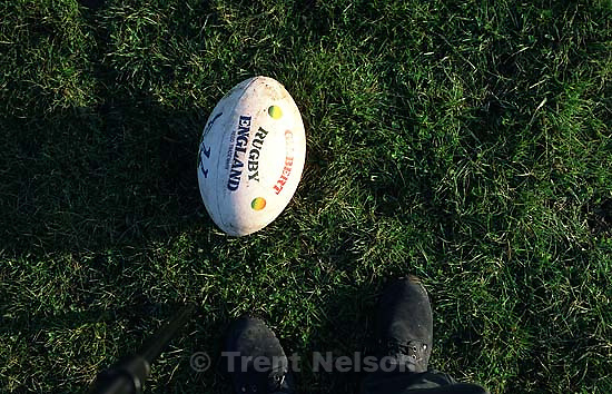 Trent feet and rugby ball.<br />