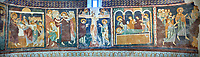 Interior Byzantine Romanesque style Christian frescoes of scens from the life of Christ, Santissima Trinita di Saccargia, consecrated 1116 AD, Codrongianos, Sardinia. Panorama