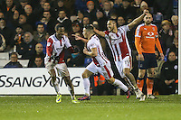Billy Waters of Cheltenham Town (2nd left) celebrates after he scores his team's third goal of the game to make the score 1-3 during the Sky Bet League 2 match between Luton Town and Cheltenham Town at Kenilworth Road, Luton, England on 31 January 2017. Photo by David Horn / PRiME Media Images