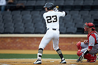 Jake Mueller (23) of the Wake Forest Demon Deacons at bat against the Sacred Heart Pioneers at David F. Couch Ballpark on February 15, 2019 in  Winston-Salem, North Carolina.  The Demon Deacons defeated the Pioneers 14-1. (Brian Westerholt/Four Seam Images)