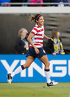 Christen Press (22) of the USWNT celebrates her second goal during the game at EverBank Field in Jacksonville, Florida.  The USWNT defeated Scotland, 4-1.