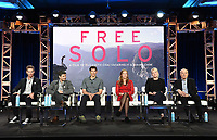 """PASADENA, CA - FEBRUARY 8: (L-R) Cinematographers Clair Popkin and Mikey Schaefer, film subjects Alex Honnold and Sanni McCandless, Producer Shannon Dill, and Editor Bob Eisenhardt attend the """"Free Solo"""" panel at the 2019 National Geographic portion of the Television Critics Association Winter Press Tour at The Langham Huntington Hotel on February 8, 2019 in Pasadena, California. (Photo by Frank Micelotta/Fox/PictureGroup)"""