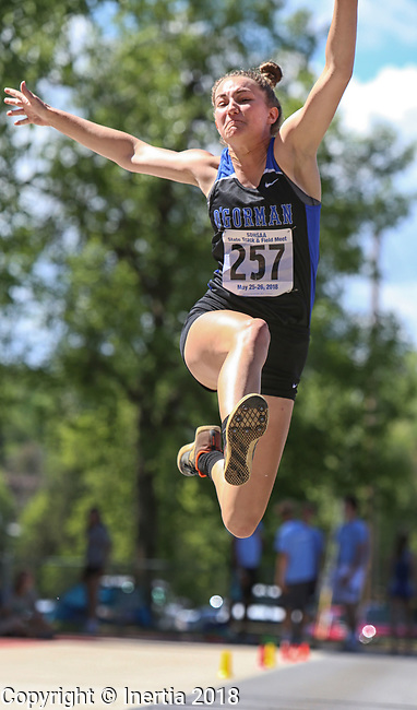 STURGIS, SD: MAY 25:  Sydney Wambach of Sioux Falls O'Gorman during the 2018 South Dakota State High School Track Meet at Woodle Field in Sturgis, S.D.  (Photo by Dick Carlson/Inertia)