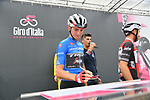 Maglia Azzurra Giulio Ciccone (ITA) Trek-Segafredo at sign on before Stage 15 of the 2019 Giro d'Italia, running 232km from Ivrea to Como, Italy. 26th May 2019<br /> Picture: Gian Mattia D'Alberto/LaPresse | Cyclefile<br /> <br /> All photos usage must carry mandatory copyright credit (© Cyclefile | Gian Mattia D'Alberto/LaPresse)