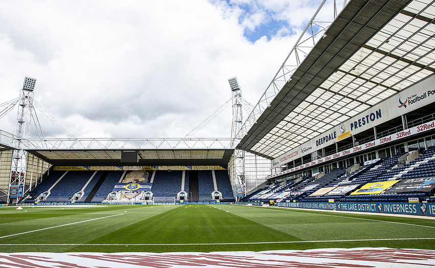 A general view of the Deepdale stadium <br /> <br /> Photographer Andrew Kearns/CameraSport<br /> <br /> The EFL Sky Bet Championship - Preston North End v Nottingham Forest - Saturday 11th July 2020 - Deepdale Stadium - Preston <br /> <br /> World Copyright © 2020 CameraSport. All rights reserved. 43 Linden Ave. Countesthorpe. Leicester. England. LE8 5PG - Tel: +44 (0) 116 277 4147 - admin@camerasport.com - www.camerasport.com