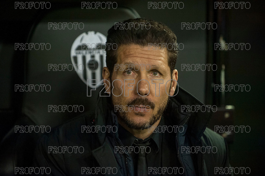 VALENCIA, SPAIN - MARCH 6: Simeone during BBVA League match between Valencia C.F. and Athletico de Madrid at Mestalla Stadium on March 6, 2015 in Valencia, Spain
