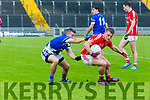 Action E'Kerry's Dara Roche and Rahillys Danny O'Sullivan at the Garvey's Supervalu Senior County Football Championship Quarter Finals East Kerry V Kerins O'Rahillys at Austin Stacks Park on Saturday