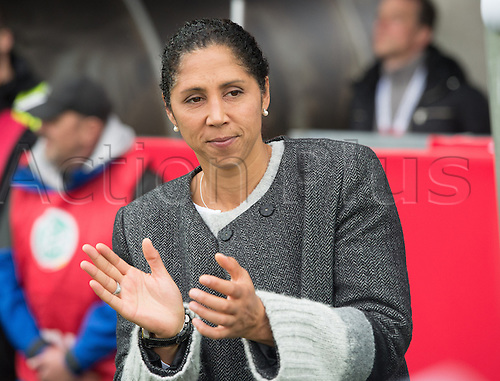 25.10.2016. Aeln, Germany.  Germany national coach Steffi Jones claps ahead of the women's international football match between Germany and the Netherlands in the Scholz Arena in Aalen, Germany, 25 October 2016.