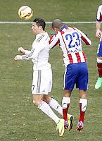 Atletico de Madrid's Joao Miranda (r) and Real Madrid's Cristiano Ronaldo during La Liga match.February 7,2015. (ALTERPHOTOS/Acero) /NORTEphoto.com