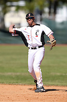 February 28, 2010:  Second Baseman T.J. Jones of the Cincinnati Bearcats during the Big East/Big 10 Challenge at Raymond Naimoli Complex in St. Petersburg, FL.  Photo By Mike Janes/Four Seam Images