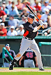 13 March 2012: Atlanta Braves infielder Drew Sutton in action during a Spring Training game against the Miami Marlins at Roger Dean Stadium in Jupiter, Florida. The two teams battled to a 2-2 tie playing 10 innings of Grapefruit League action. Mandatory Credit: Ed Wolfstein Photo