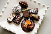 A selection of chocolates made by chocolatier Patrice Arbona at his shop 'Entre Mes Chocolats', Vence, France, 10 February 2011