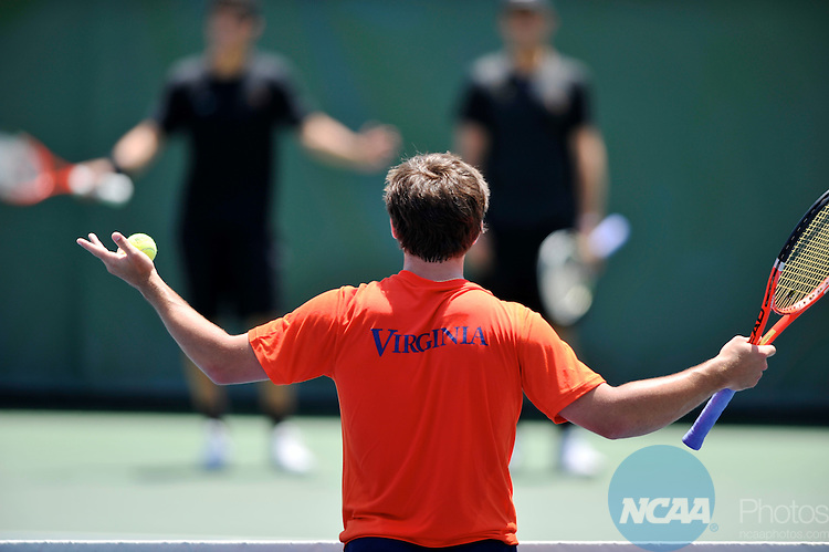 24 MAY 2011:  Julen Uriguen of the University of Virginia contests a point against the University of Southern California during doubles play at the Division I Men's Tennis Championship held at the Taube Family Tennis Center on the Stanford University  campus in Stanford, CA.  Brett Wilhelm/NCAA Photos